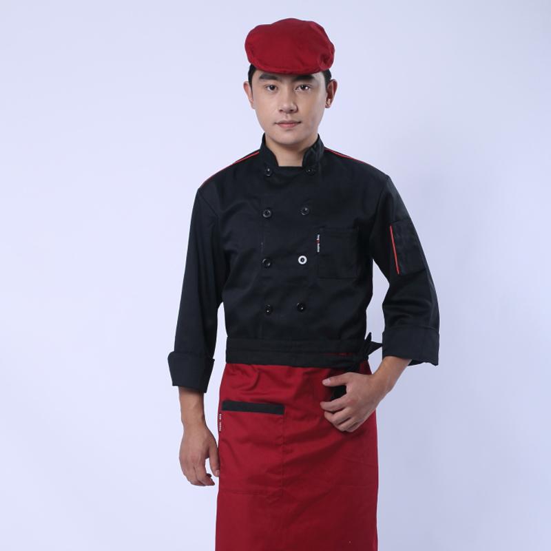 新品黑色面包房工装男士酒店厨师服装 宾馆后勤员工制服长袖工装图片