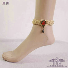 Halloween gifts Europe and the United States court texture restoring ancient ways Lace gothic red droplets anklets Original accessories female
