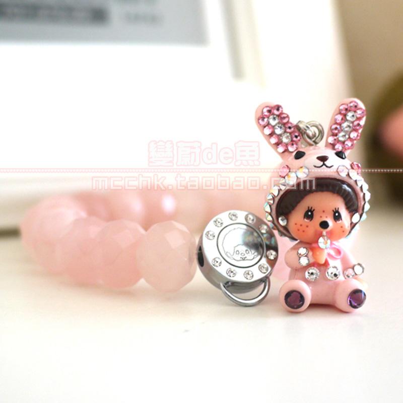 提升爱情运礼物专柜代购MONCHHICHI蒙奇奇兔子粉晶石正品正版手链