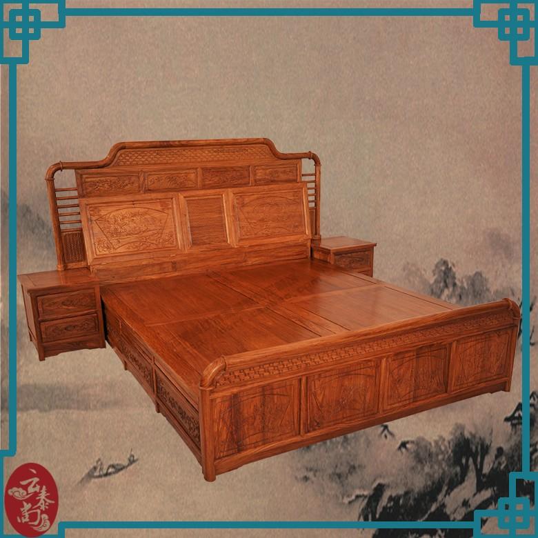 花梨欧式提子大床|竹节大床3件套|床头柜|卧室平板床图片