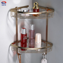 GWEAT Aluminum Antique Bathroom Basket Triangle Space Storage Double Layer Glass Shelf With Hooks