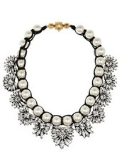 SHOUROUK style Snowflakes transparent diamond Hand-woven pearl necklace Fake collar sweater chain