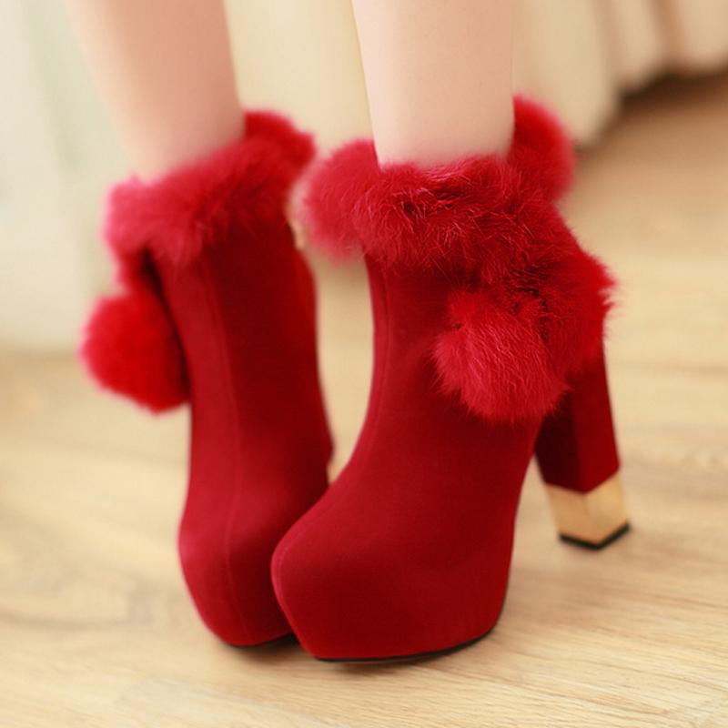 2013夏季新品甜美韩版厚底粗跟短靴马丁靴大红色婚鞋罗马风女靴子