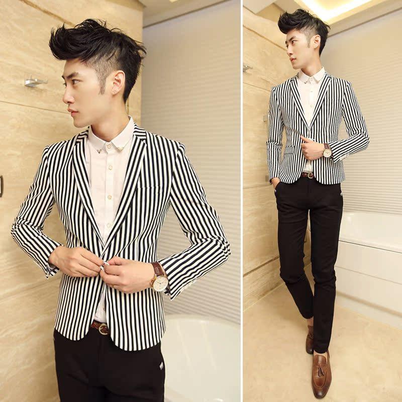 秋装新款立体修身裁剪韩版男士条纹小西服黑白条单西流行青少年型图片