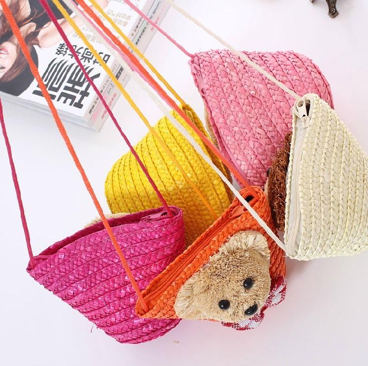 Детская ключница Милый маленький медведь соломенные мешки небольшой сад сумка сумка женская изменения мешок вязания сумка через плечо раттан baodan сумка