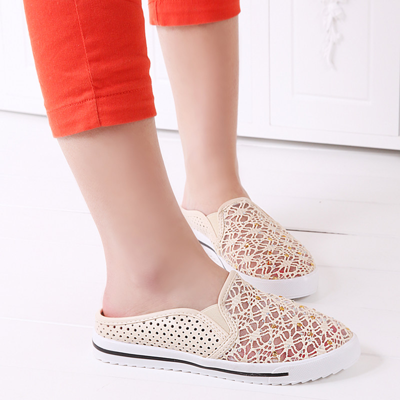 【图】新款水钻镂空女鞋平底鞋平跟女凉鞋懒人鞋休闲