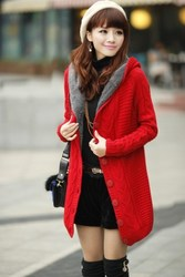 korean style extended warm sweater coat thick hooded cardigan