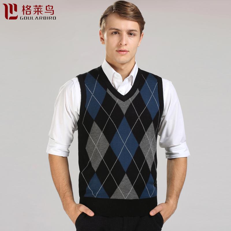 格莱鸟秋冬新款男装时尚V领羊毛薄款针织衫男士羊毛马甲背心毛衣