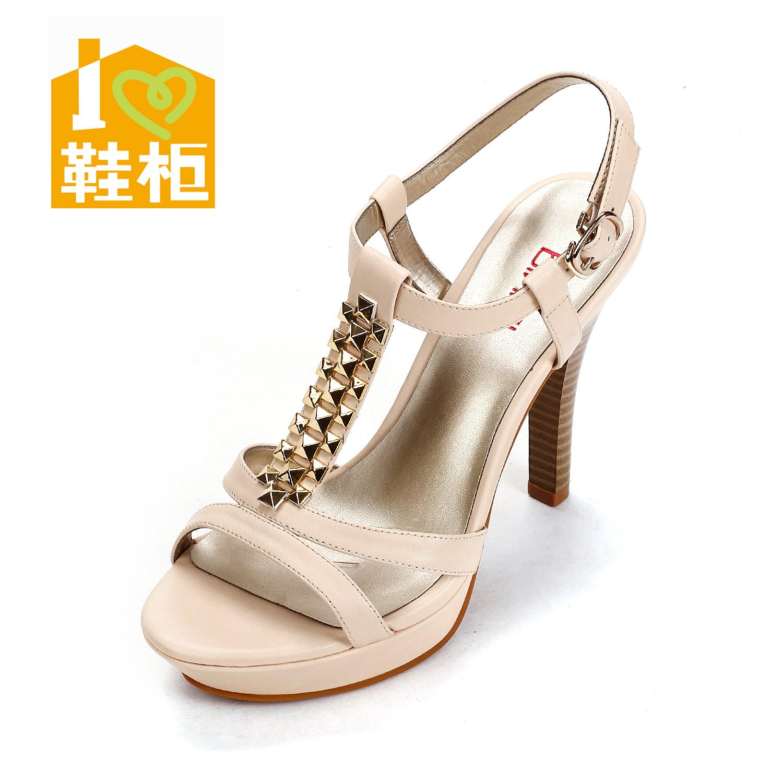 鞋柜2013夏季性感铆钉t字木纹细高跟厚水台女鞋凉鞋1113303239