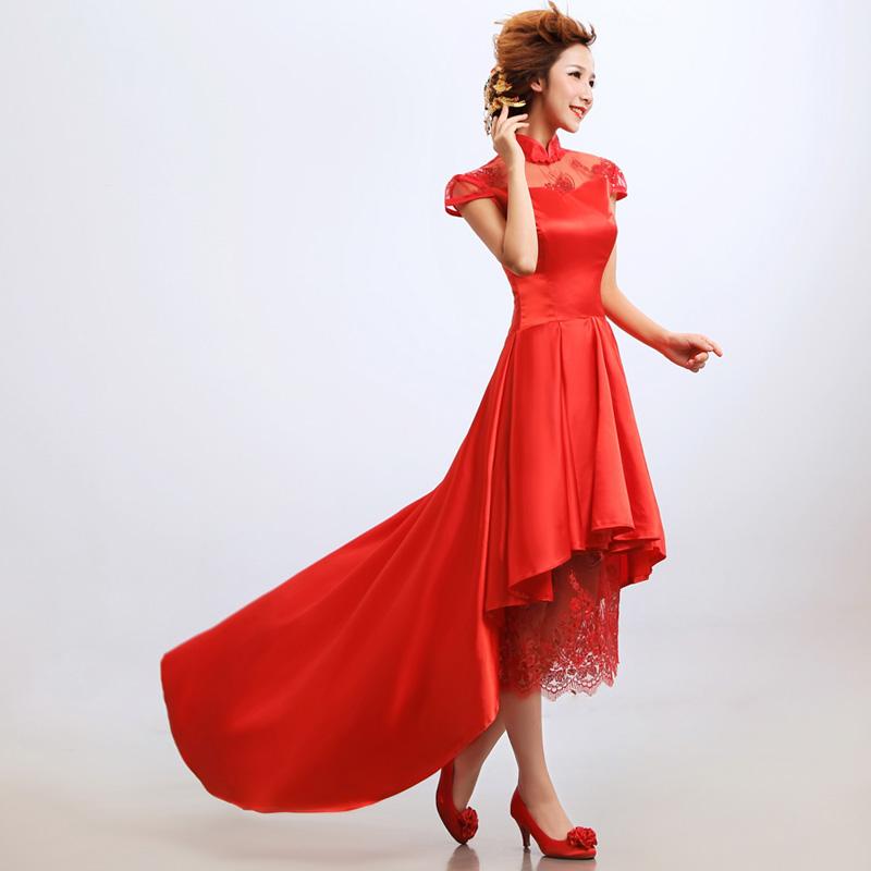 新娘结婚旗袍婚纱礼服 结婚季中式改良前短后长敬酒服礼服红色 复古旗袍