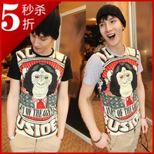 Lin curved Gorilla Korean men and women short-sleeve round neck pullover short sleeve monkey cartoon couple cotton men short sleeve