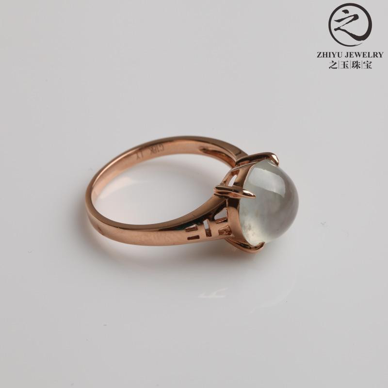 之玉珠宝结婚季 缅甸天然a货翡翠蛋面镶嵌戒指冰种起莹光翡翠戒指 14