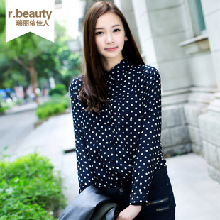 R.beauty2013 spring retro ladies chiffon shirt blouse long sleeve collar shirts at the end of 14,006