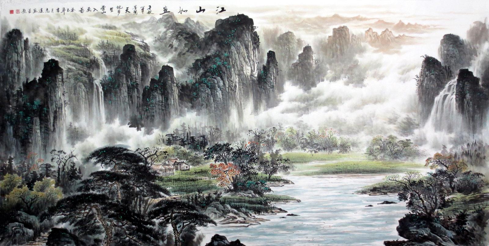 水墨国画精品志远手绘八尺山水画江山如画yt3-11-25-4图片
