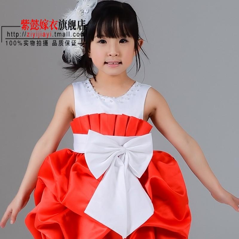 紫懿嫁衣[特价一周]花童裙公主裙连衣裙红色短款礼服LF070