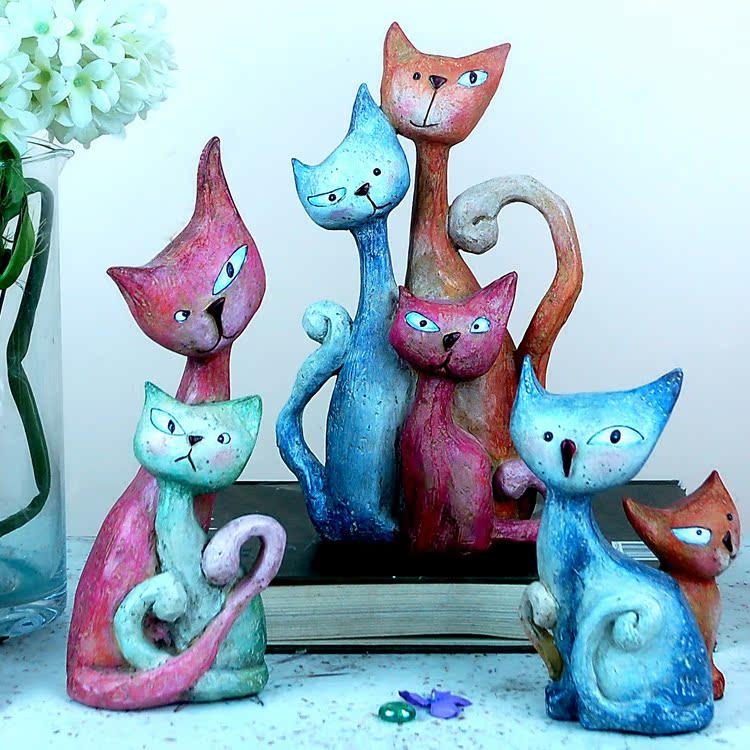 时尚创意设计树脂油画效果小猫可爱猫儿童家居摆件装饰品工艺品