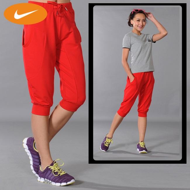 Спортивные шорты Nike 8688 Женские Эластичный 100 хлопок Капри / бриджи ( длинные ) Для спорта и отдыха Логотип бренда, Вышивка % 100% хлопок