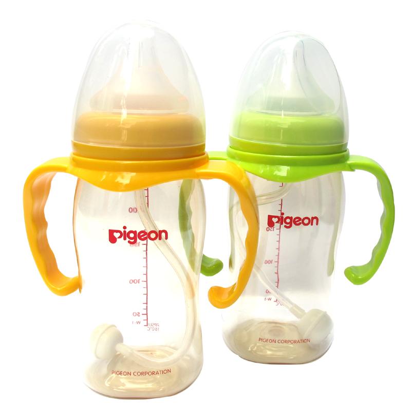 【套餐包邮】贝亲宽口PPSU塑料奶瓶+手柄+吸管AA74/75/76/77可选