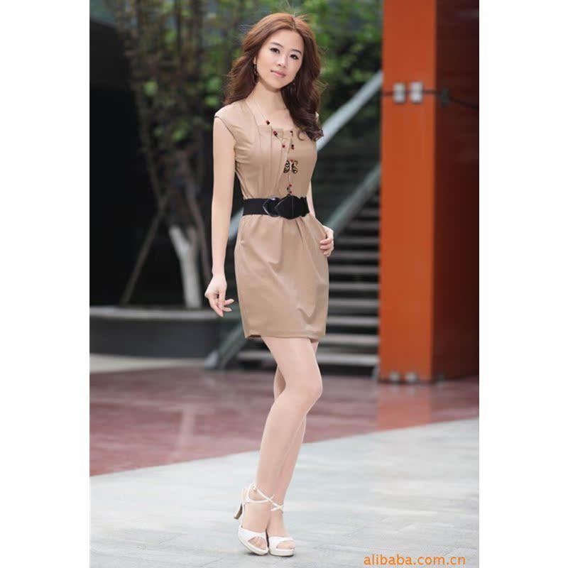 Женское платье 2013 лето новый корейских женщин сплошной цвет свободные тонкий хлопок случайных платье без рукавов в Корее женщин