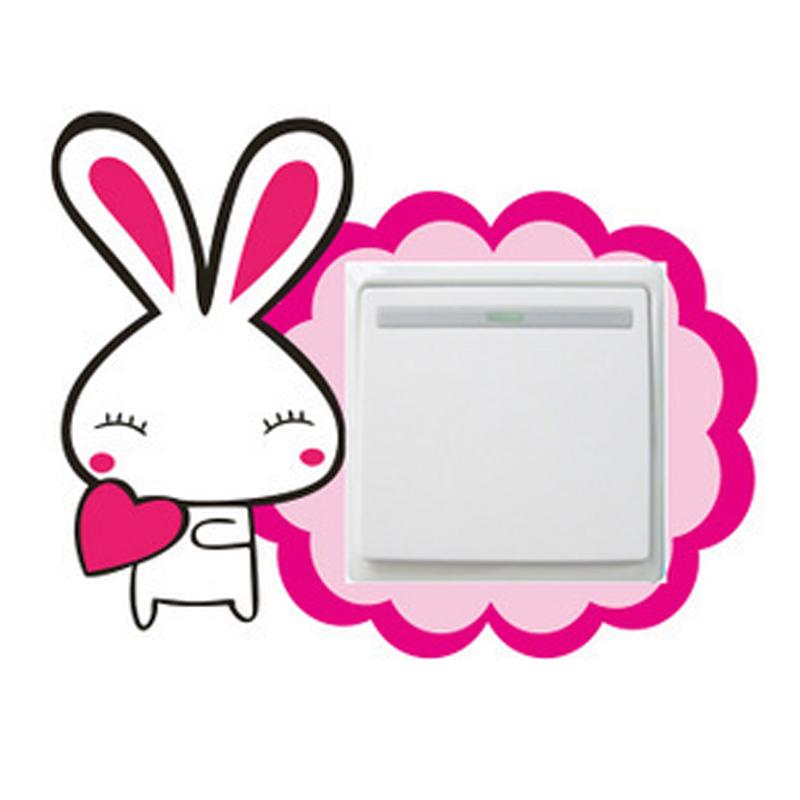DIY创意 自粘儿童卡通客厅卧室 装饰墙贴 可能小白兔 三代开关贴