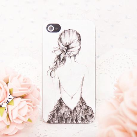 包邮裸背浮雕果壳5代手机外壳女孩潮女男生苹果送女生橡皮筋图片