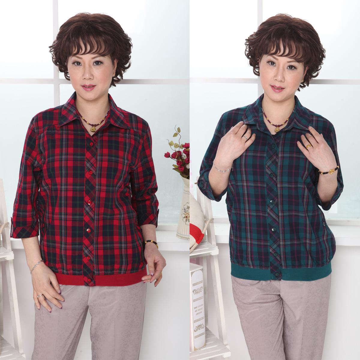 中老年女装 2013春季套装休闲格子衬衫 中袖 七分 中老年衬衣包邮
