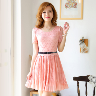 Taobao clearance] new 2013 Women Korean temperament Slim short-sleeved chiffon dress lace skirt