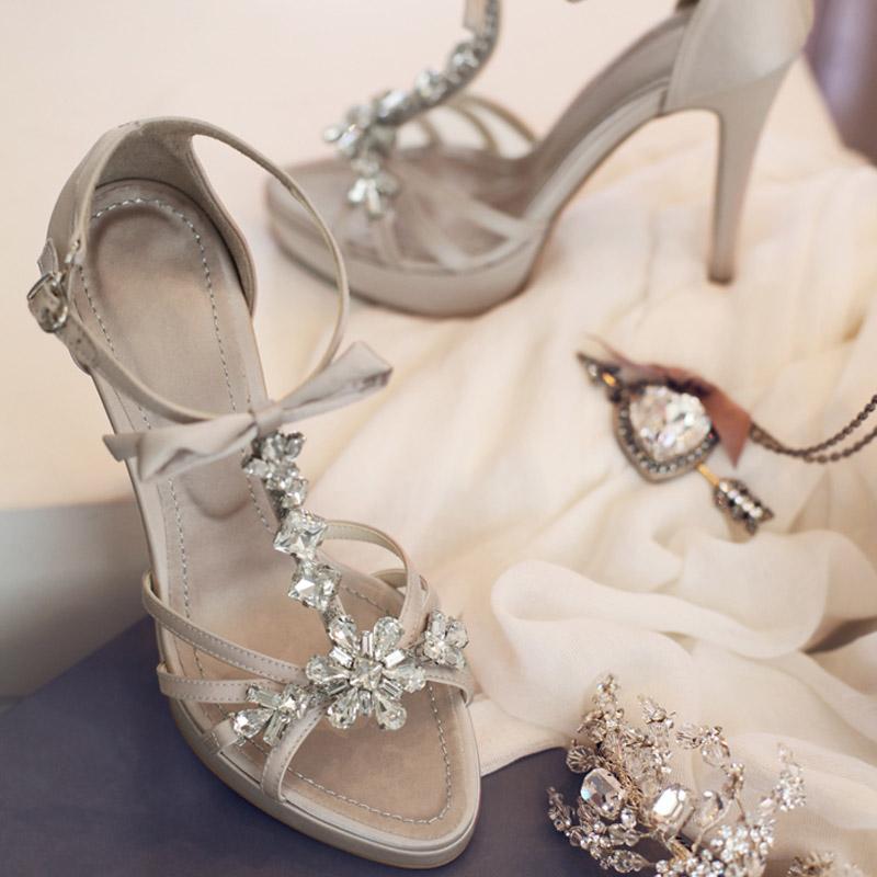 2013韩版真皮凉鞋女高跟鞋奢华串珠水钻鞋闪钻性感婚鞋水台罗马鞋