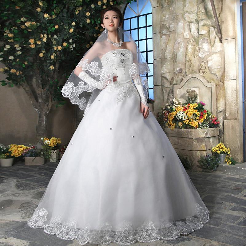 人气新娘婚纱礼服 新款2013 抹胸韩版公主裙韩式齐地性感简约1345