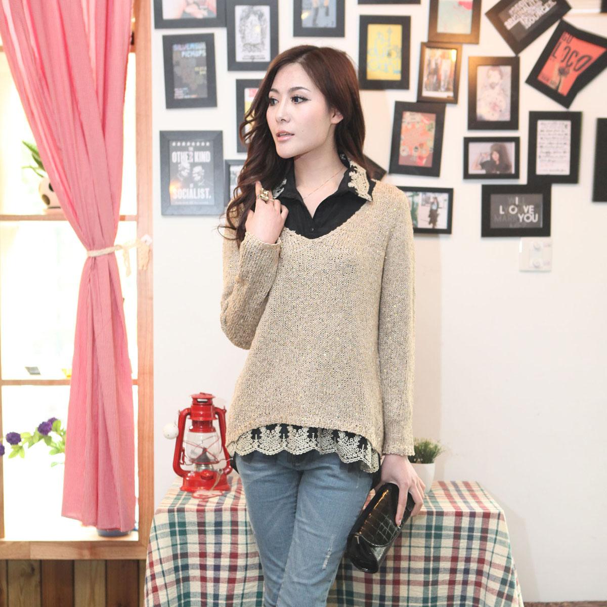 Свитер женский Осень 2013 корейской версии нового рубашка свитер два куска набор (отправка рубашки) для отдыха и элегантные осень