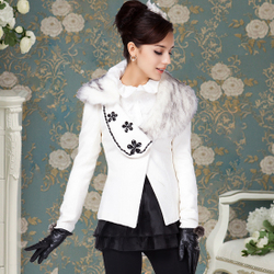 Only white collar woolen suit coat black flowers gems