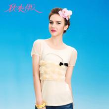 秋水伊人2013夏季修身甜美套头新款上衣装饰女毛针织衫图片