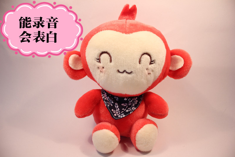 Плюшевая игрушка Подлинными пара QQ обезьяна обезьяны плюшевые записи игрушка кукла QQ обезьяны аудио Куклы Игрушки и подарки