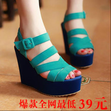 Japanese candy color genuine new heavy-bottomed high-heeled wedge sandals Roman sandals high heel sandals