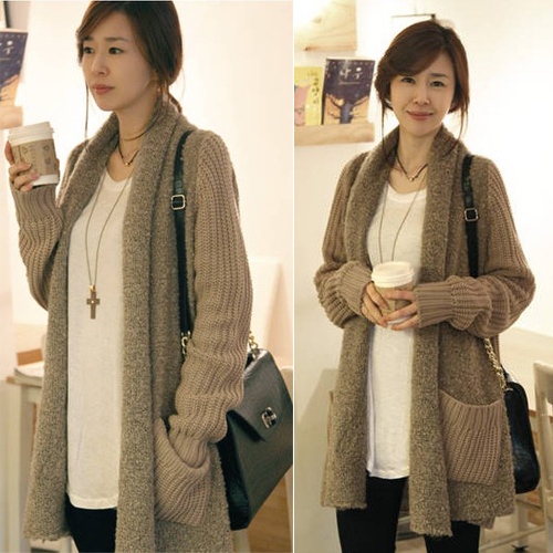 Winter women Korean plus size sweater coats fat cat fat mm long loose Wool Cardigan Sweater 包邮