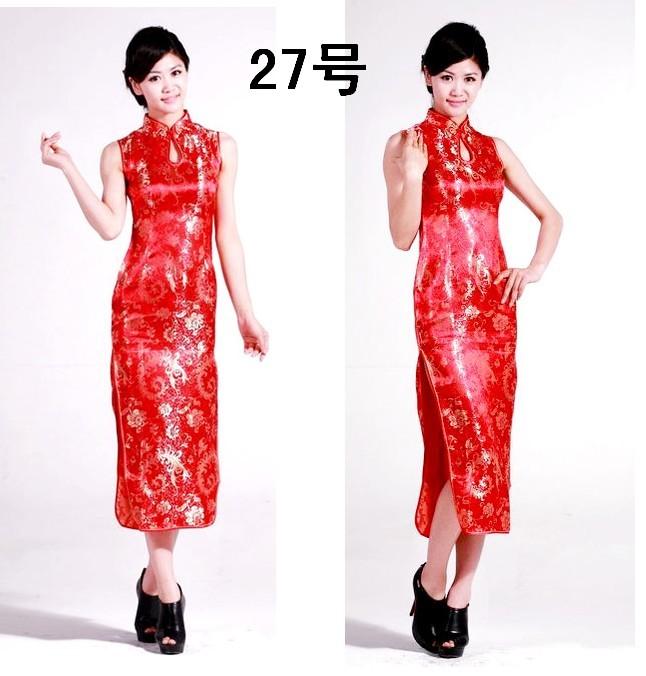 Платье Ципао «5» темперамент Ms Китая Тан Тан костюм женщин работы одежду короткий рукав Феникс Dragon длинные cheongsam гобелен