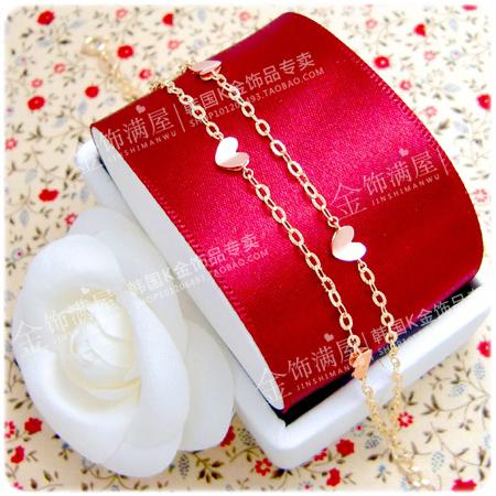 韩国正品/14k18k纯黄金玫瑰金彩金珠宝首饰/时尚双层心形进口手链