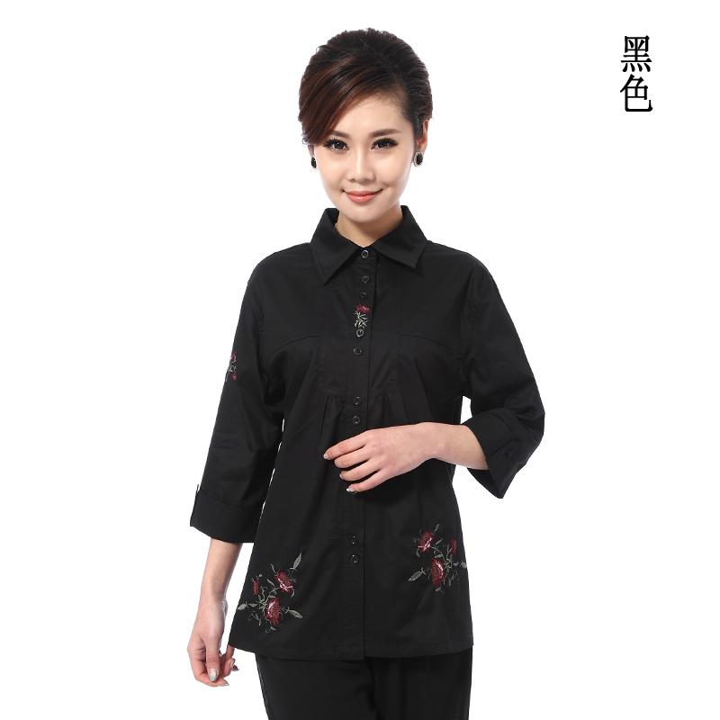 2013夏装新款时尚中老年女装衬衫中年短袖衬衫气质妈妈大码上衣