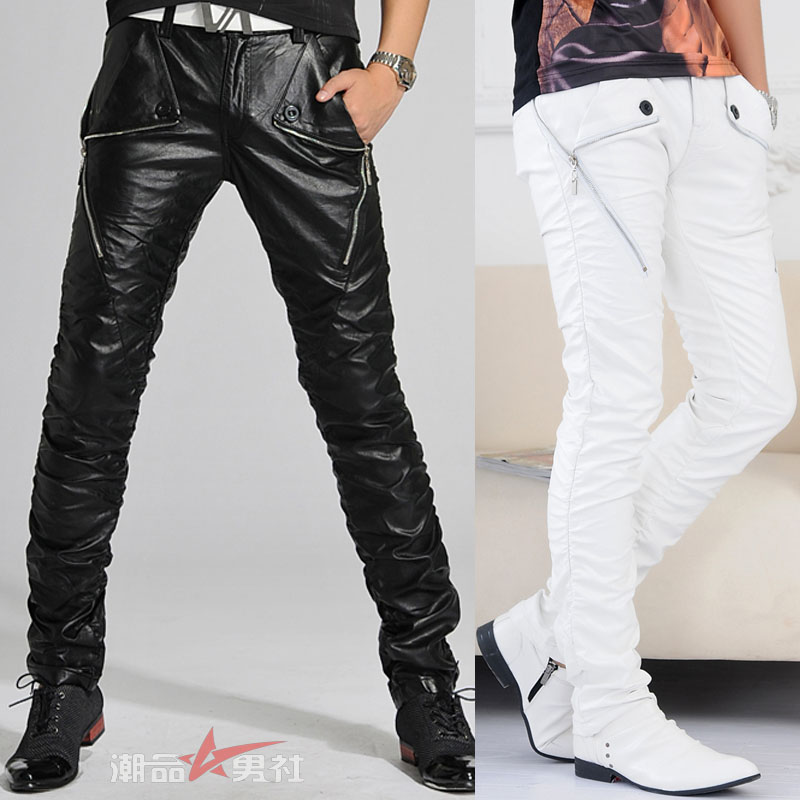 Trendy Korean men's leather pants stylish pants slim locomotive male scene hairstyle shows White leather pants