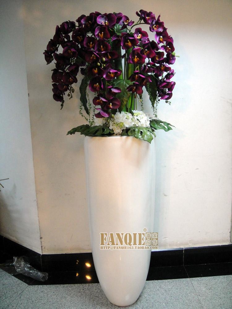 落地大花瓶 套装 简约时尚手感仿真花欧式客厅摆件酒店别墅蝴蝶兰