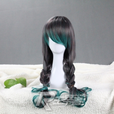 Harajuku LOLITA cosplay wig fake hair everyday green mix long curly gray gradient couple of female models