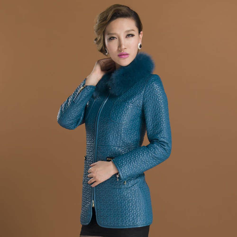 Кожаная куртка Хайнинг кожа кожа 2013 новый high-end женщин лисий мех длинный специальные тонкий цветок дубленка