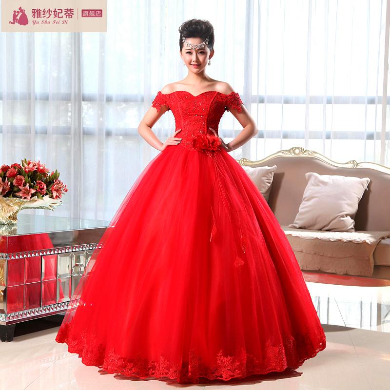 2013新款 高档蕾丝韩版公主一字肩花朵复古修身显瘦优雅绑带婚纱
