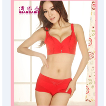 Qian Lily Ms. Deep V sexy lace closing Furu gather small chest adjustable Japanese girl in red lingerie bra sets