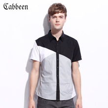 Carbene genuine spring and summer men's Slim short-sleeved cotton stitching tide casual shirt B/3121111037