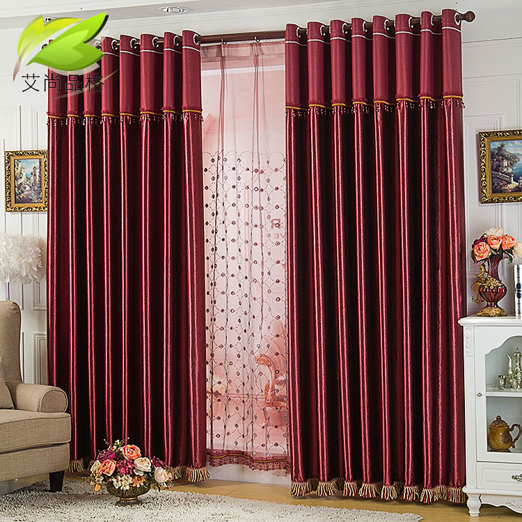 Airsun character special high-grade embossed thick shade cloth curtains for the living room bedroom balcony curtains finished