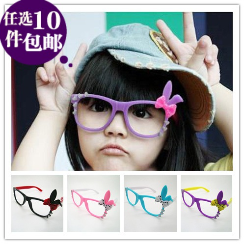 M baby children's spectacle frames, baby-free glasses lens modeling bunny ears bow glass frames