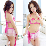 Flowers angel New women sexy off Free Features fringed skirt sleepwear open crotch sexy lingerie chest a temptation to suit