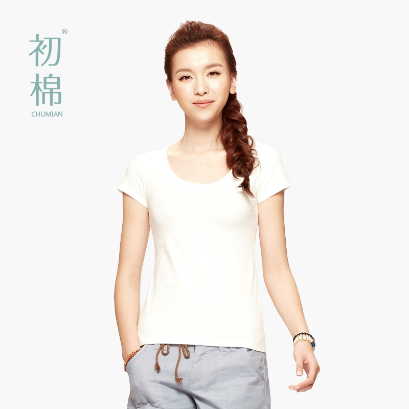 Cotton in early spring and summer clothes for ladies and new washing color t-shirt round neck short sleeve plus size t-shirts at the end of female Korean version