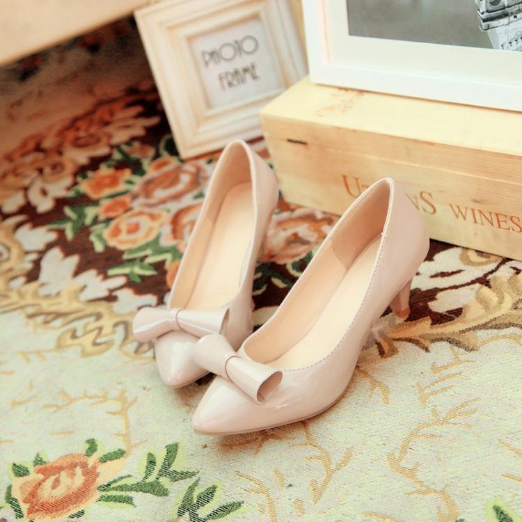 蝴蝶结漆皮糖果鞋米色粉色伴娘鞋裸色新娘婚鞋中跟尖头韩版公主鞋